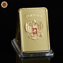 WR 24k 999.9 Gold Bar Quality USA Gold Plated Fake Bars Souvenir Gifts Collectible Golden Metal Crafts Art Ornament for Gifts