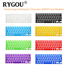 "RYGOU French UK/EU Clavier AZERTY Silicone Keyboard Cover Skin for Macbook Pro 13"" 15"" 17"" Air 13 inch Protective Keyboard Film"