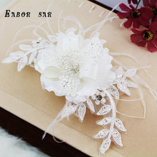 2016 new Pearl bride hair accessory diamond flower veils wedding patches pearl lace feather wedding accessories white