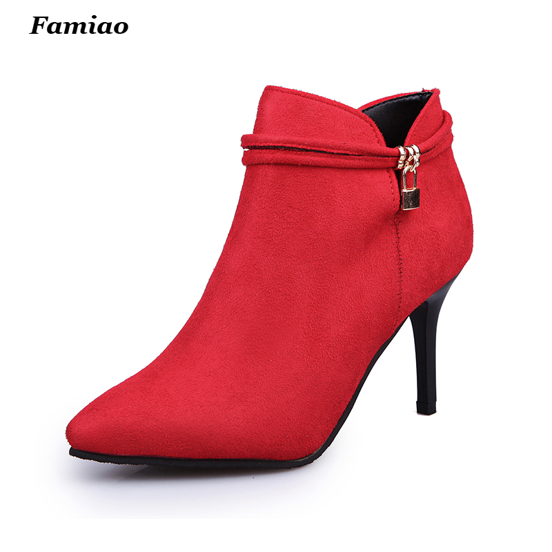 Botas Mujer 2017 Women boots Fashion pointed toe Prom High Heels Autumn winter Warm Chelsea ankle boots shoes woman<br><br>Aliexpress