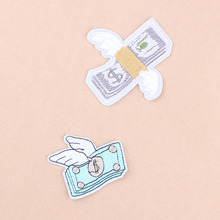 Funny Fly Money Patch Brand Sew Iron On Patch Embroidered Cute Patches Stripes Sticker For Clothes Applique Thermo-adhesive C1(China)