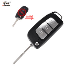 DANDKEY 3 Buttons Modified Flip Folding Remote Key Shell Case for Ford Mondeo Focus Fiesta S-MAX FOB Key Cover