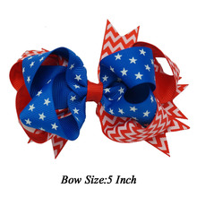 "5"" Fashion Flag Girls Stacked Hair Bow Hairclip 4th of July Decoration Boutique Kids Girls Hair Pin Accessories Polyester"