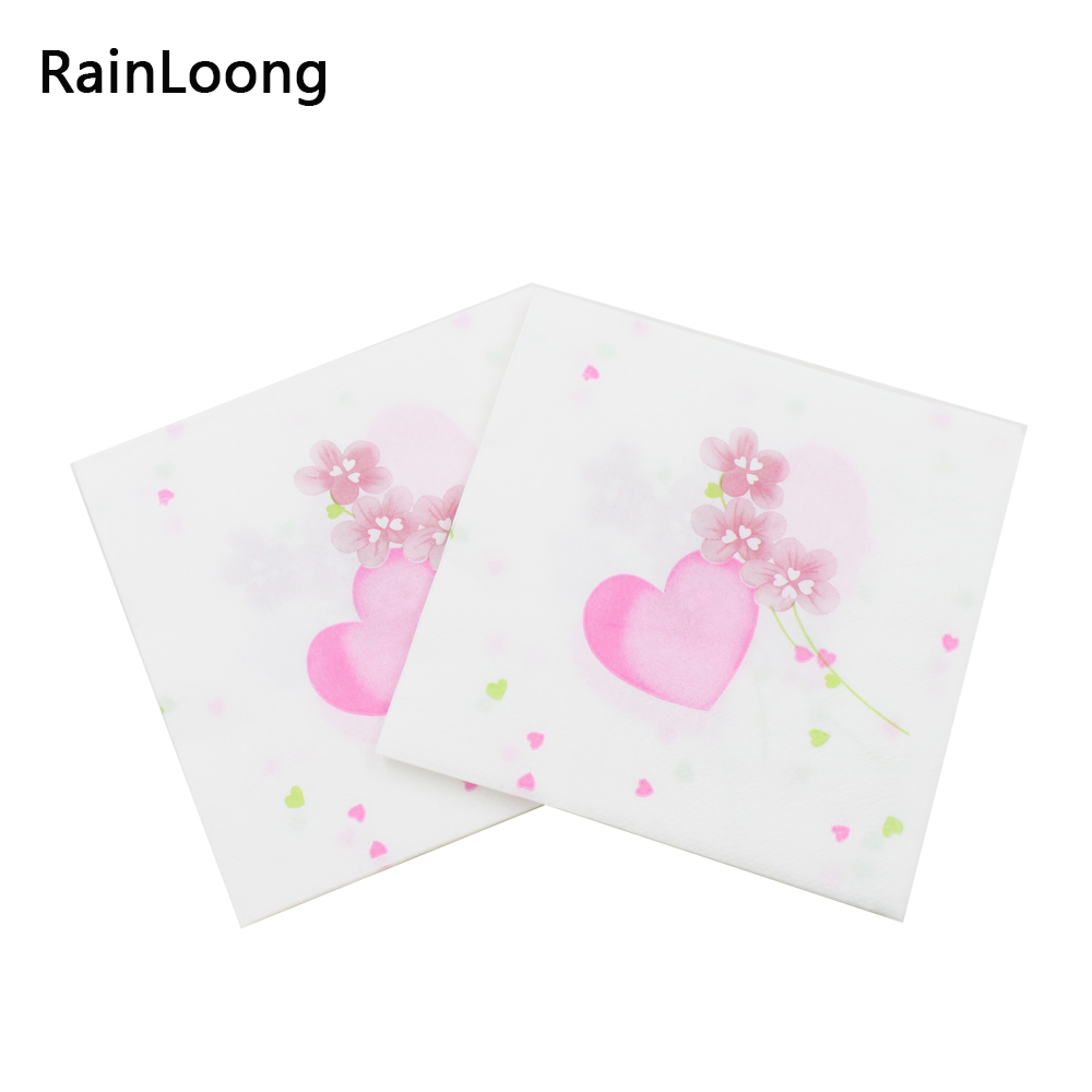 [Rainloong] Сердце Любовь Бумага салфетки Декупажные печатных напитков Мероприятия и вечеринки ткани салфетки украшения салфетки(China (Mainland))