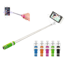 2017 New colorful Mini Extendable Handheld Selfie Stick Wired Remote Shutter Monopod for all brands cell phone