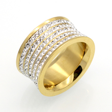 5 Row Brand Crystal Jewelry Fashoin Women Men Unisex Luxury 11mm Wide Rings Wholesale Gold Color Stainless Steel Wedding Rings(China)