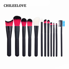 CHILEELOVE 12 Pcs/Sets Makeover Professional Makeup Brushes Cosmetic Kit Blusher Eye Shadow Powder Eyebrow Comb For Women Girl