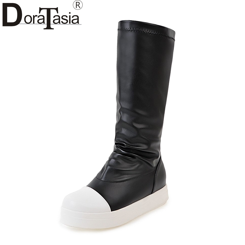 DoraTasia Large Size 34-42 Add Fur Flat Heels Thick Bottom Slip On Women Shoes Autumn Winter Mixed Color Girls Mid Calf Boots<br>