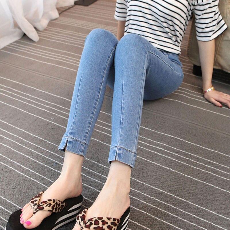plus size denim jeans pants women spring autumn 2017 bermuda feminina thin leg open fork feet pencil pants female A1064Одежда и ак�е��уары<br><br><br>Aliexpress