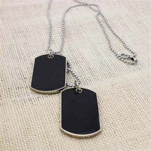 New Army Tactical Style Black 2 Dog Tags Chain Beauty Mens Pendant Necklace for Men Jewelry HOT