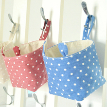Small Bag Cotton Linen Hanging Sundries Storage Bag Desk Cosmetic Storage Basket Organizer Wall  Hanger