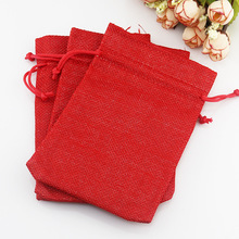 New 100 pcs/Lot 7*9cm Red Linen Fabric Jute Drawstring bags Gift package bags Natural Burlap Bags with Nylon Drawstring