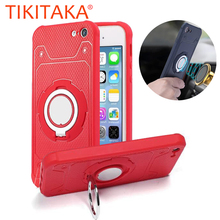 Phone Cases For iPhone 7 6 6s Plus 5 5s SE Cover Magnetic Suction Bracket Car Holder Stand Finger Ring Kickstand PC + TPU Case(China)