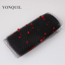 Black color mix red dot birdcage veil 25CM Width bridal netting party headwear millinery veils DIY Hair accessories hat material