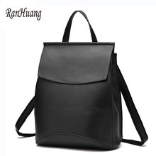 RanHuang Women Casual Backpack PU Leather Travel Bag Korean School Bags For Teenagers  Girls Black Red b39ce1c918