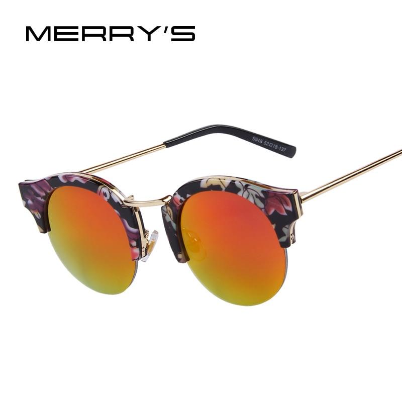 MERRYS Brand Designer Women Classic Cat Eye Printing Frame Sunglasses Butterfly Sun Glasses Round Lens UV400<br><br>Aliexpress