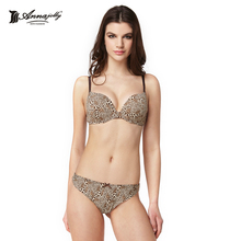 Annajolly Women Leopard Bra Sets Sexy Push Up Bra And T Back G String Breathable Comfortable Underwear Fashion Lingerie U1108(China)