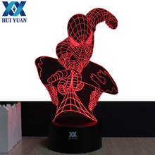 Shipping from to USA Spider-Man Remote Control LED Desk Table Night Light 7 Color Touch Lamp Kids Children Family Holiday Gift(China)