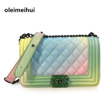 Gradient rainbow color thread clasp chain shoulder bag, new ice cream-color Messenger bag spring/summer fashion,womens bag