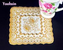 16cm HOT Gold PVC placemats for table place mat lace pad Insulation doily pot mug cup holder coaster office kitchen accessories