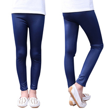 Spring Summer Girls Faux Leather Black And Blue Skinny Leggings Children Pants Leather Girls Pants(China)
