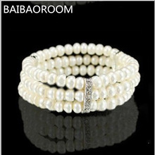 New Arrival Simple Brand Design Noble Imitation Pearl Elastic Bracelet Statement Accessories Jewelry Women