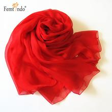 Fashion Classical Style Weddng Bride Scarf Solid Color Chiffon Silk Scarf Pure Red Flowing Scarf Wrap Cape(China)