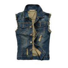 Fashion Men's Motorcycle Jean Coat Vest Blue Ripped Destroyed Slim Fit Sleeveless Denim Jackets for Male Plus Size S-6XL 5XL 4XL