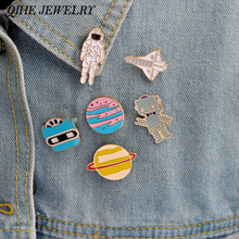6pcs/set Enamel pin set Warfare astronaut rocket robot space shuttle star plant metal pin For jackets t-shit bag accessories(China)