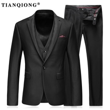 TIAN QIONG Men Slim Fit Suit British Wool Casual Wedding Dress Blazer Men One Button Black Suit Men Clothing(Jacket+Pant+Vest)(China)