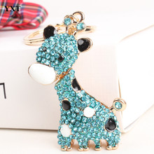 Blue Giraffe Long Neck Lovely Pendant Cute Rhinestone Crystal Purse Bag Key chain Fashion Style Best Creative Gift