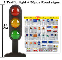 Big Size Traffic Toy Lights 24cm And 56pcs Road Signs Children Model Scene Simulation Teaching Aids Live Voice of Traffic Lights(China)