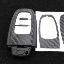 CAR-STYLING black Carbon Fiber Car Key Sticker For Audi A4 A6 RS4 A5 A7 A8 S5 RS5 8T Q5 S5 S6 Key Refitting Accessories(China)