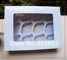 12 hole white cupcake box, muffin cake box, cake container,food packaging 30cmx24cm x9cm