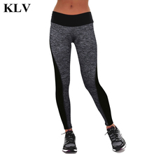 Fashion Patchwork Design Women Exercise Ankle Length Pencil Trousers Girl Workout Leggings Skinny Pants Lady Black/Gray 60729