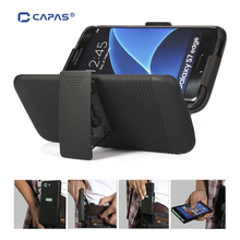 CAPAS Belt Clip Case for Samsung Galaxy S7 edge Case Belt Clip Cover for Galaxy S7 S8 Plus Slide 2 in1 Phone Swivel Holder Stand(China)