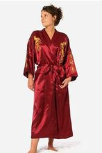 Burgundy Silk Embroidery Dragon Kimono Bathrobe Gown Women Sexy Satin Robe Long Nightgown Size S M L XL XXL XXXL BR040(China)