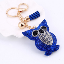 MINHIN Cute Owl Pendant Leather Key Chain Car Key Ring Holder Gold Bag Keychain Gift For Girls 6 Colors Rhinestone Key Chains(China)