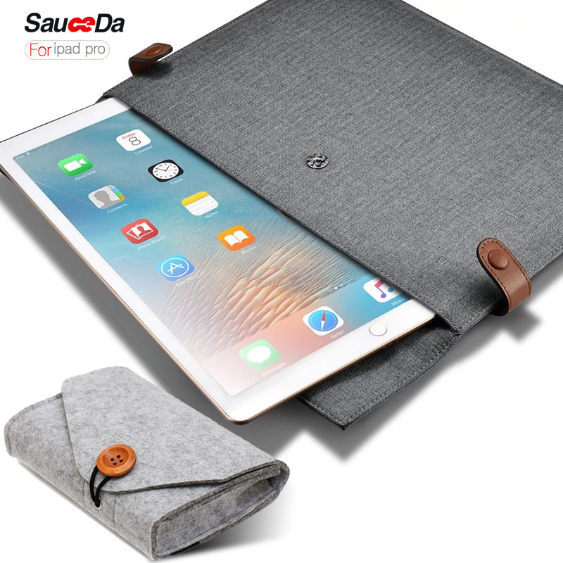 sauceda laptop sleeve For ipad pro 12.9 inch cover Genuine Leather Case for ipad pro 9.7 inch with Mouse Charger pouch 2017<br>