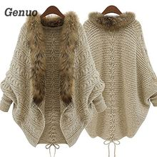 Genuo Moda Mulheres Faux Fur Collar Brasão Batwing Luva Frouxo Casual Quente Xale Cardigan Sweater Outono Inverno Mulheres Superiores(China)