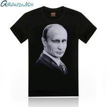Grandwish Vladimir Putin T Shirts Men Character Printed Men's T Shirt O-Neck Russia President Putin T-Shirt for Male , PA658(China)