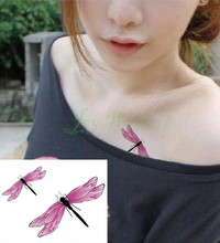 Waterproof Temporary Tattoo Sticker pink dragonfly tattoo animal tatto stickers flash tatoo fake tattoos for girl women kids(China)