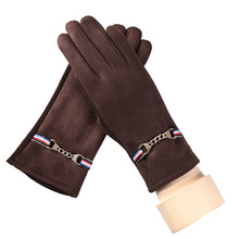 Winter Gloves Women's Fashion Elegant Suede Metal Chains Outdoor Sports Warm Gloves New Products(China)