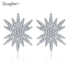 Beagloer Star Stacked Style Earrings Hot Selling CZ Diamonds White Gold Color Silver Tone Earring Jewelry For Female CER0504-B