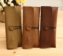 1 PCS Vintage Elegant Paries Eiffel Tower PU Leather Pen Bag / Pencil Case Office Stationery