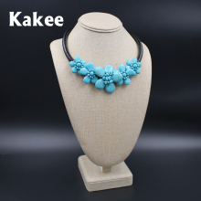 Kakee Handmade Stone Beads Rope Chain Flower Turquoises Choker Necklace for Women Fashion Jewelry European Style Collier(China)