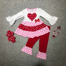 new baby girls clothes girls V-day outfits white top with red heart ruffle pants long sleeve girls boutique with accessoriess(China)