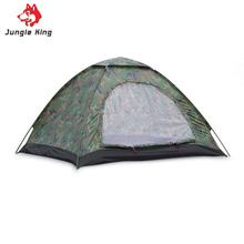 3-4 Person Single Layer Camouflage Camping Tent Outdoor Garden Picnic Hiking Rainproof Waterproof Shelter Fiberglass Rod(China)