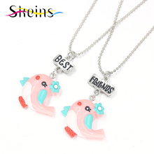 Skeins BFF Jewelry 2pcs Set Best Friends Charm Pendants Necklace Japanese Lovely birds Series Kids Necklace Set(China)