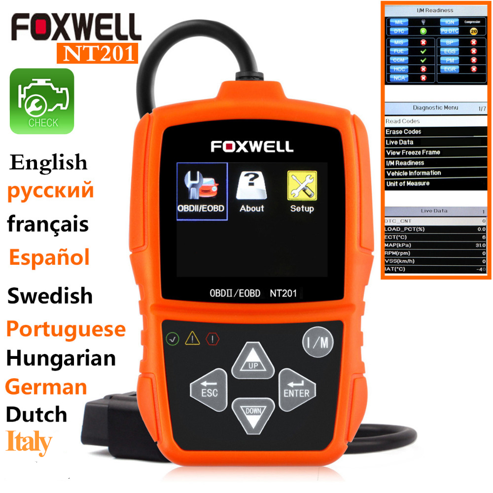 NEW OBD2 Scanner Fault Code Reader Original Universal Foxwell NT201 auto diagnostic scanner Tools odb2 obd2 scanner car(China (Mainland))